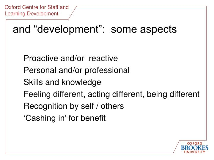 And development some aspects