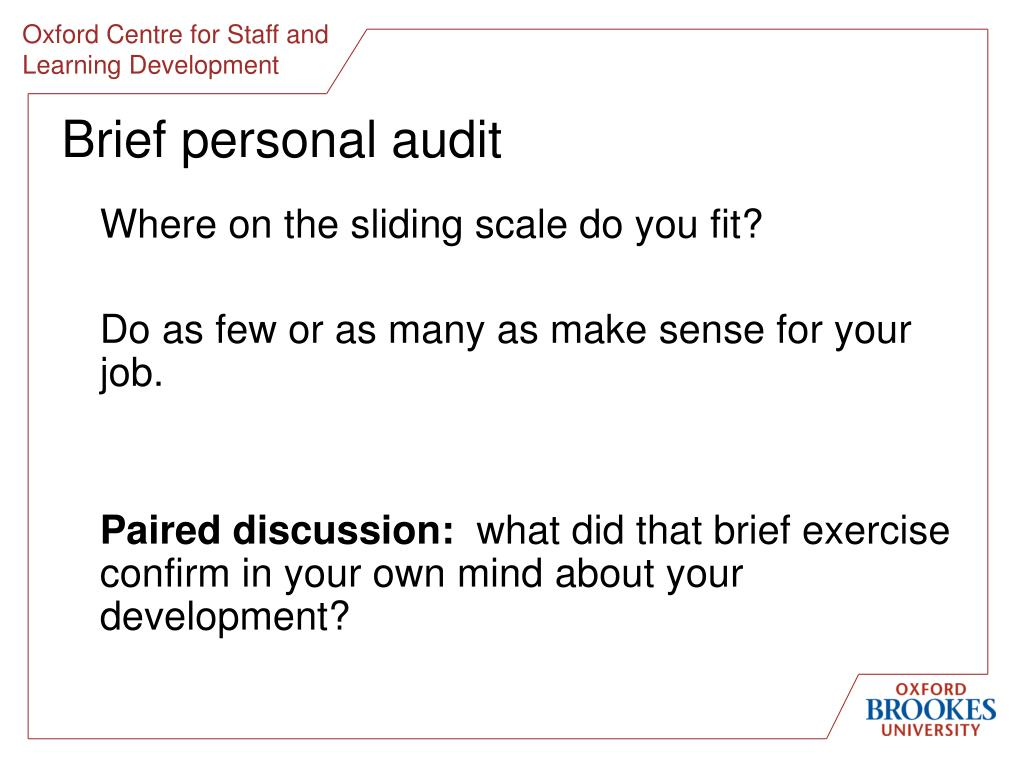 Brief personal audit