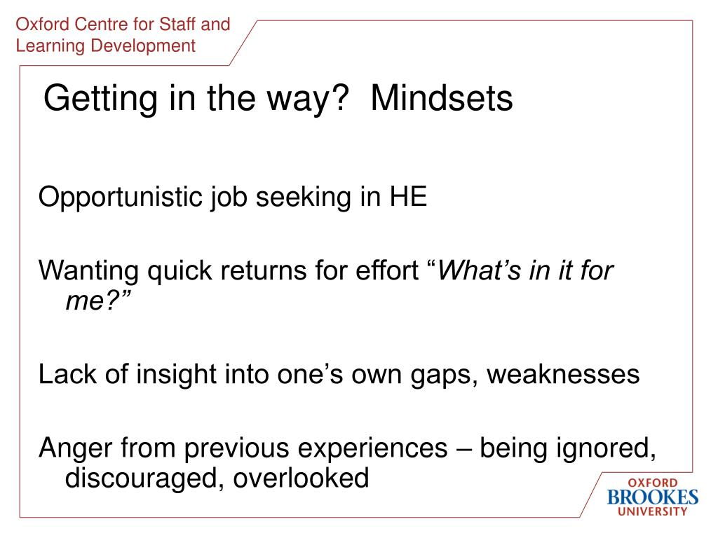 Getting in the way?  Mindsets