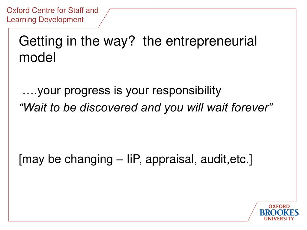 Getting in the way?  the entrepreneurial model