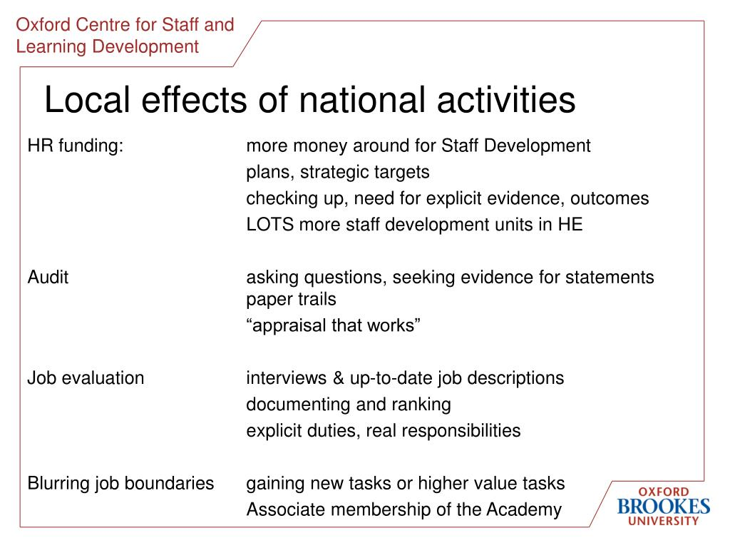 Local effects of national activities
