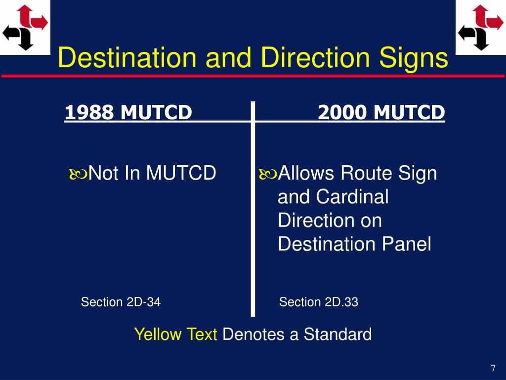 Destination and Direction Signs