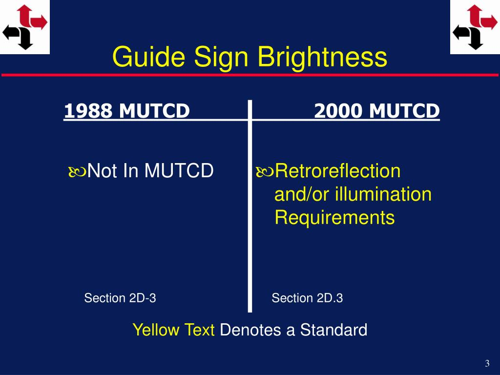 Guide Sign Brightness