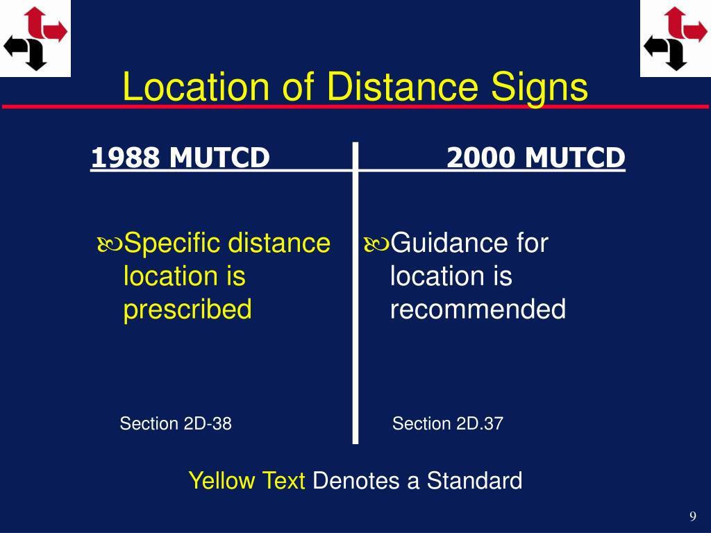 Location of Distance Signs