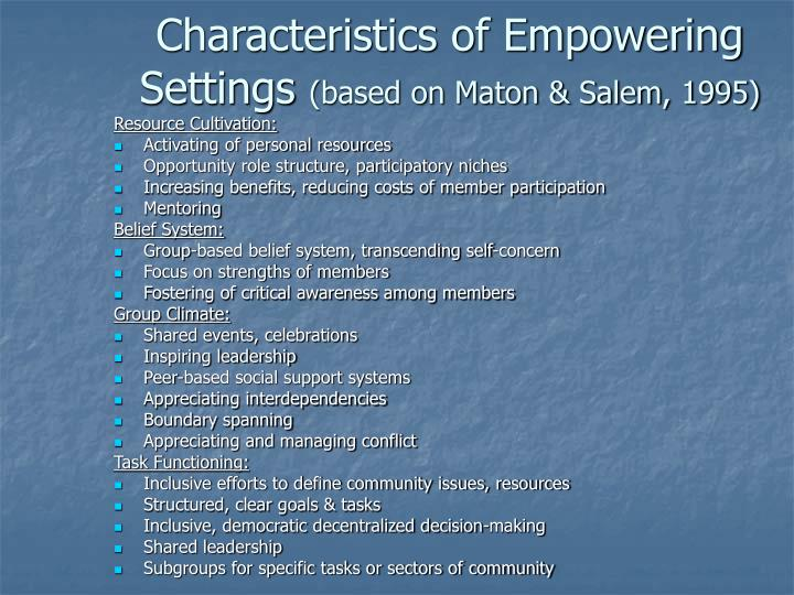 Characteristics of Empowering Settings