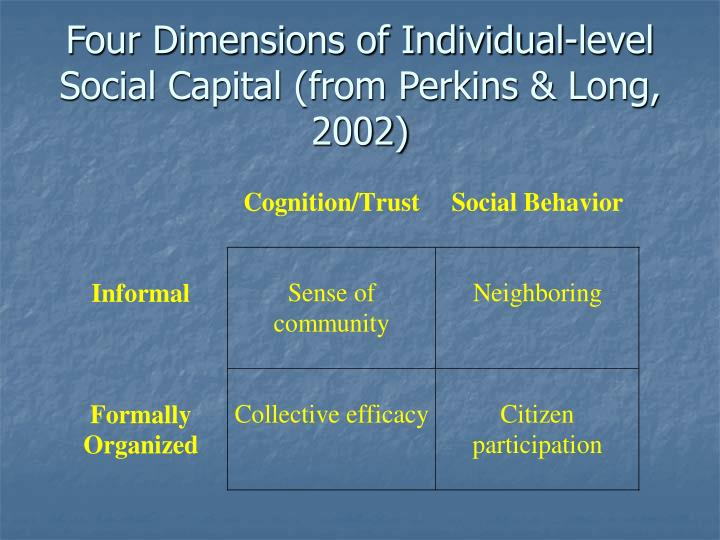 Four dimensions of individual level social capital from perkins long 2002