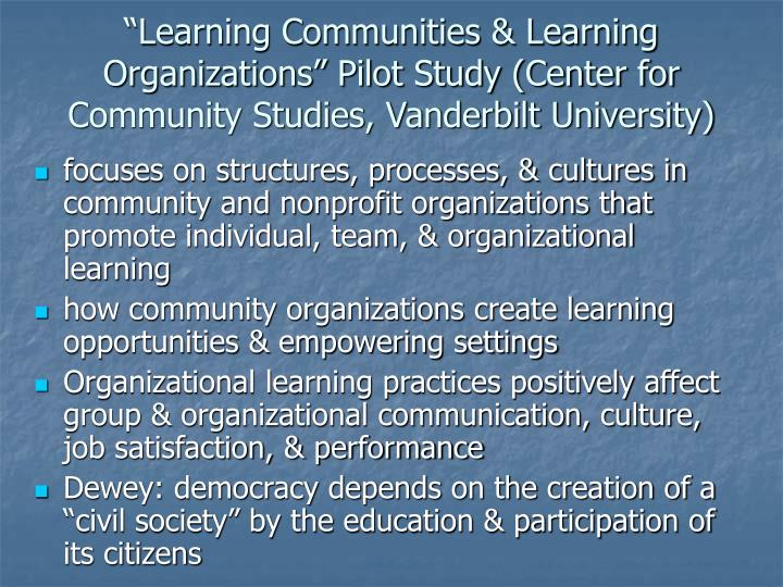"""Learning Communities & Learning Organizations"" Pilot Study (Center for Community Studies, Vanderbilt University)"