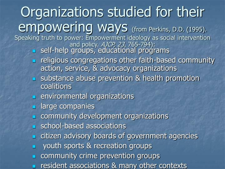 Organizations studied for their empowering ways