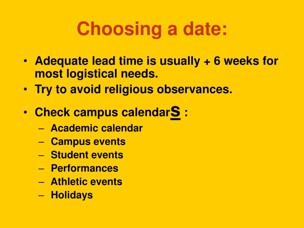 Choosing a date: