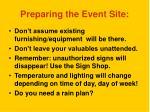 preparing the event site