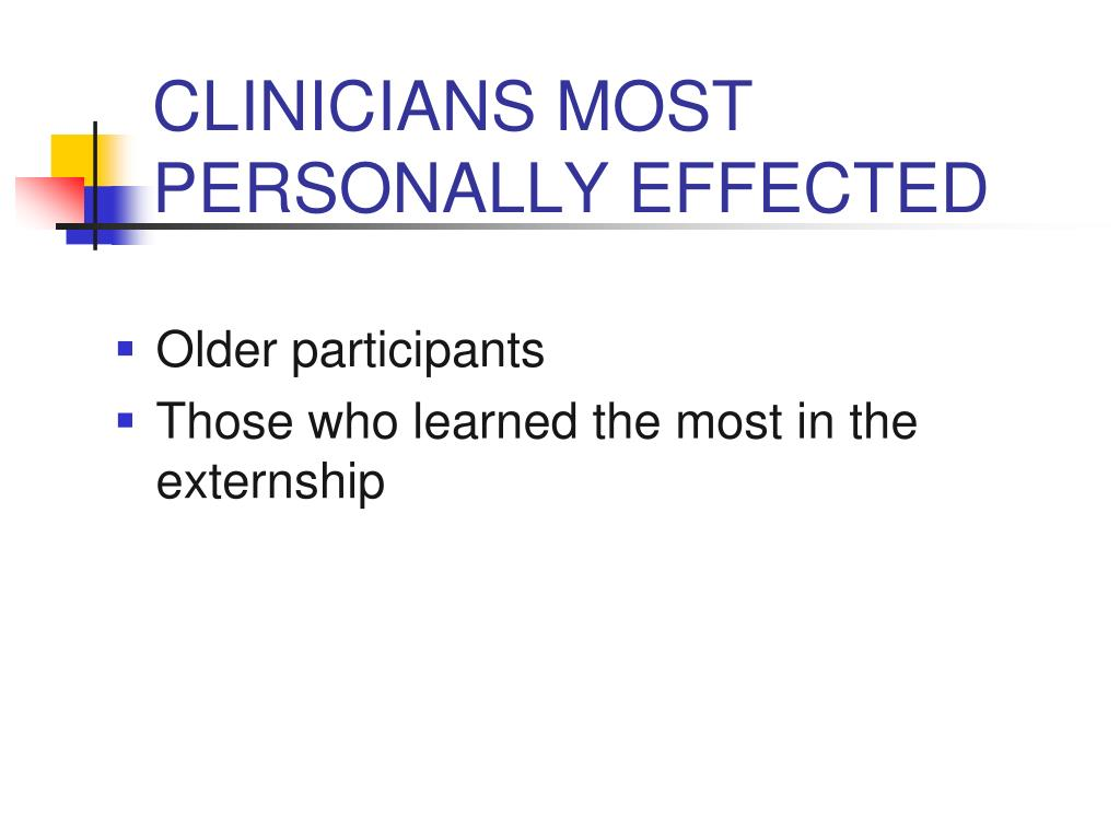 CLINICIANS MOST PERSONALLY EFFECTED
