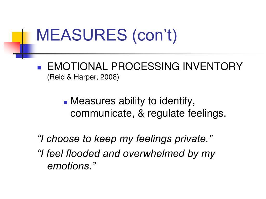 MEASURES (con't)