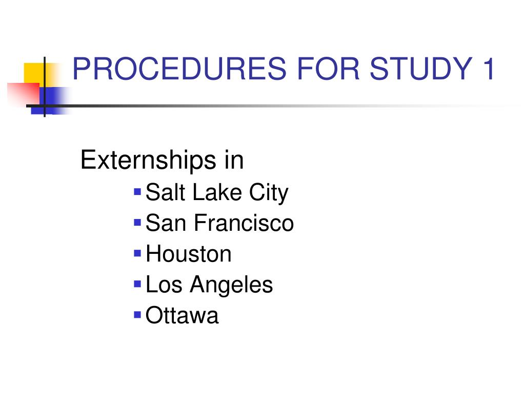 PROCEDURES FOR STUDY 1