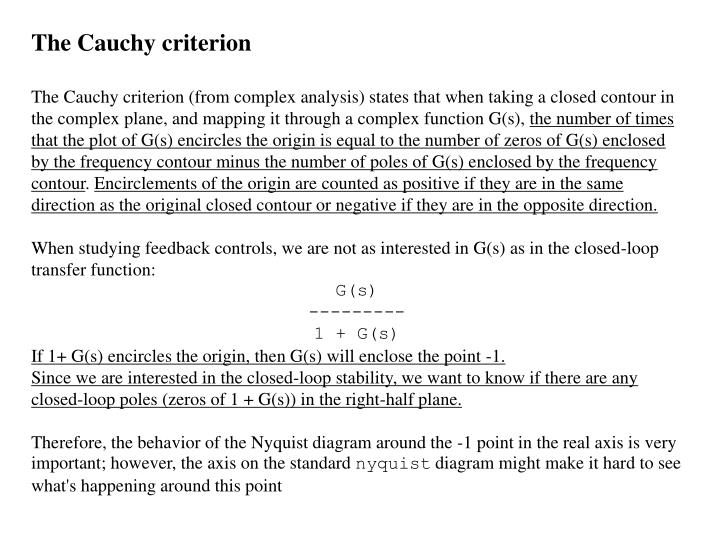 The Cauchy criterion