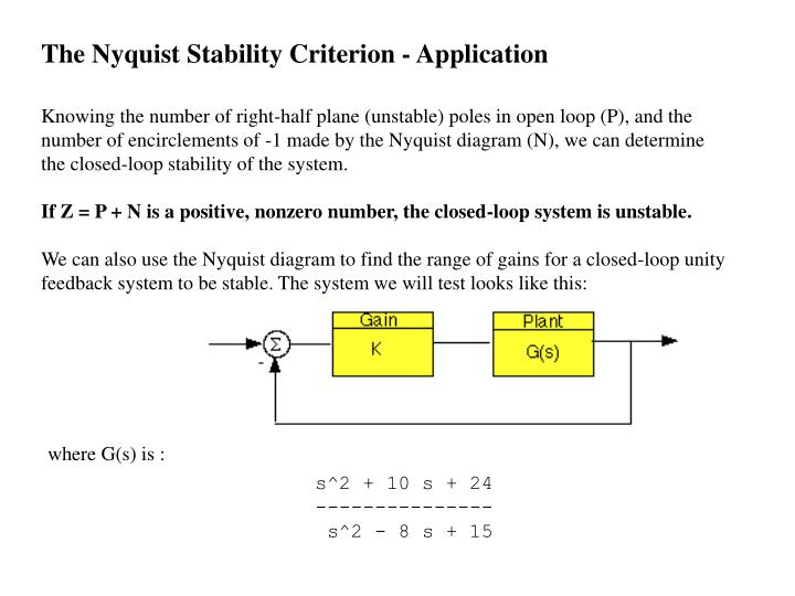 The Nyquist Stability Criterion - Application