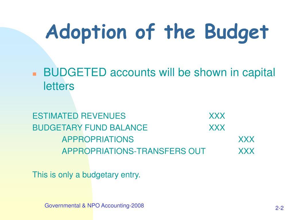 Adoption of the Budget