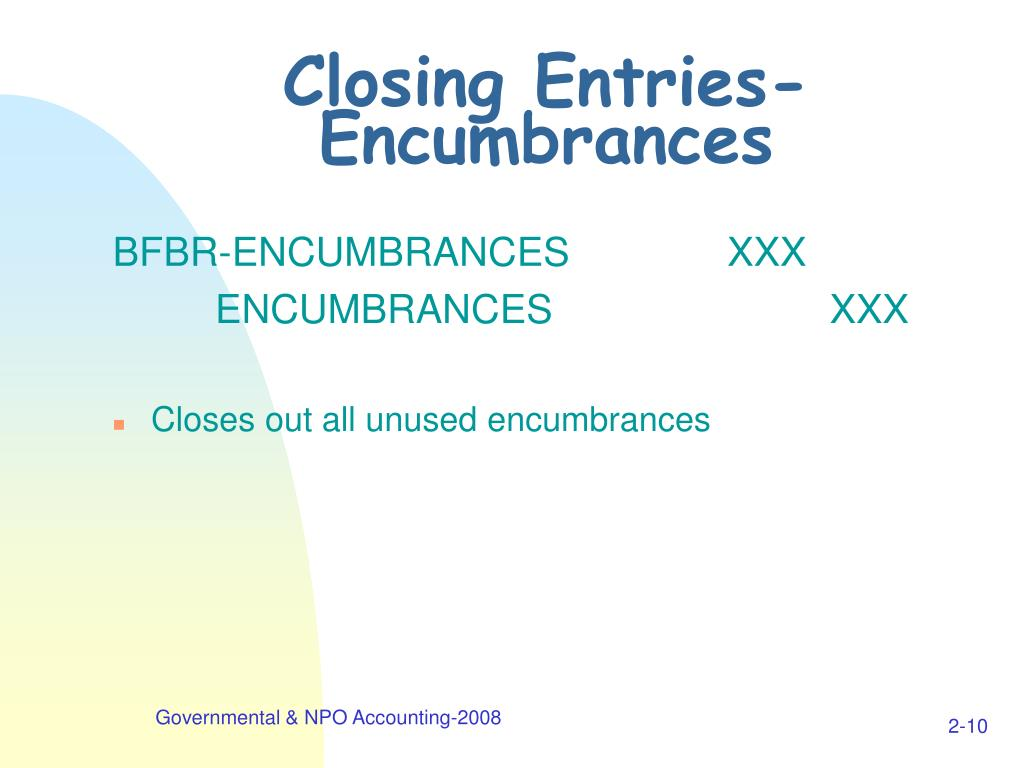 Closing Entries-Encumbrances