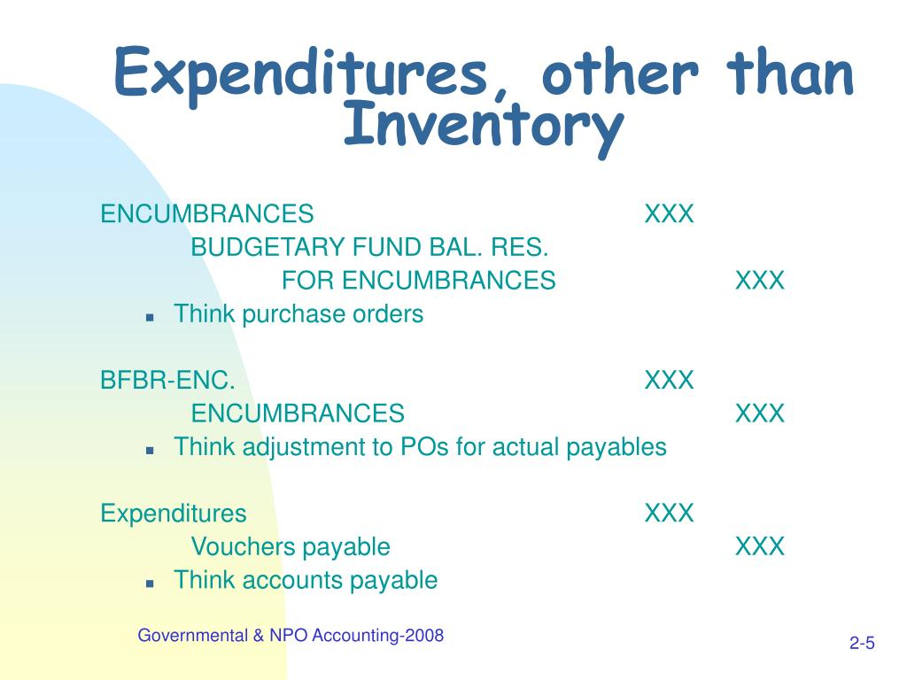 Expenditures, other than Inventory