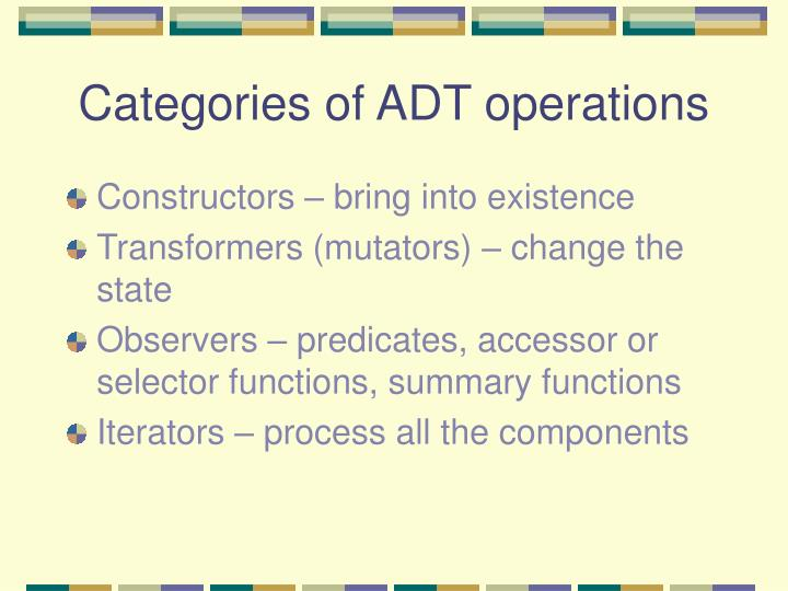 Categories of ADT operations