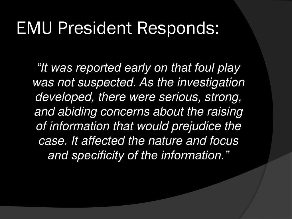 EMU President Responds: