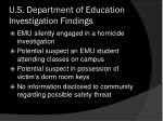 u s department of education investigation findings