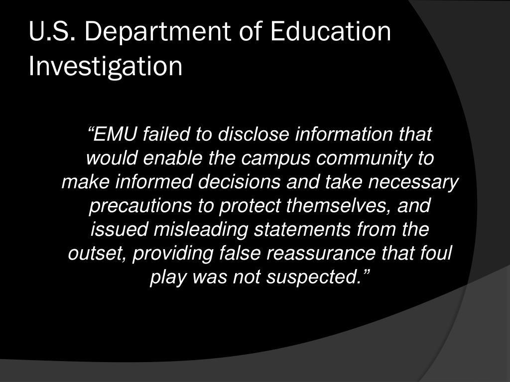 U.S. Department of Education Investigation