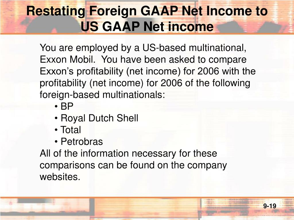 generally accepted accounting principles and income