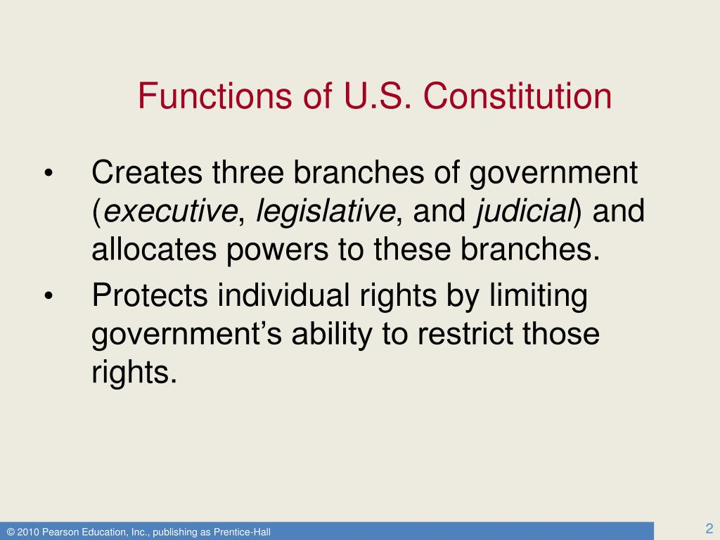 Functions of U.S. Constitution
