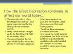 how the great depression continues to affect our world today