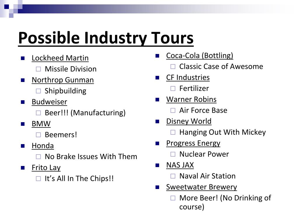 Possible Industry Tours