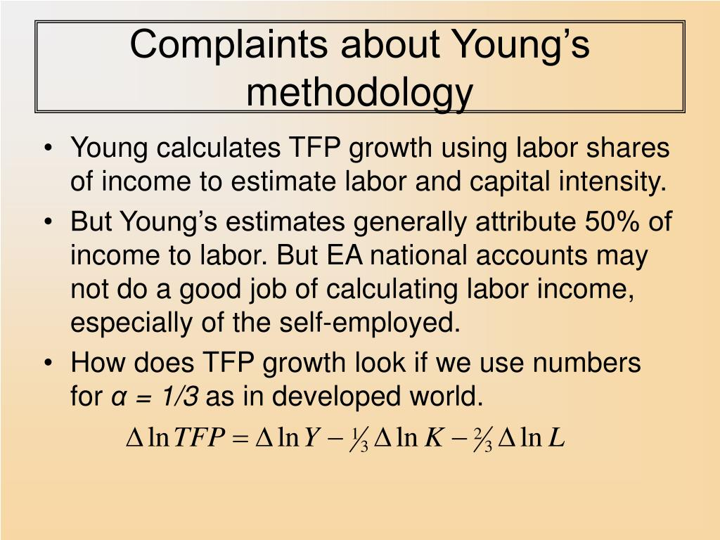 Complaints about Young's methodology