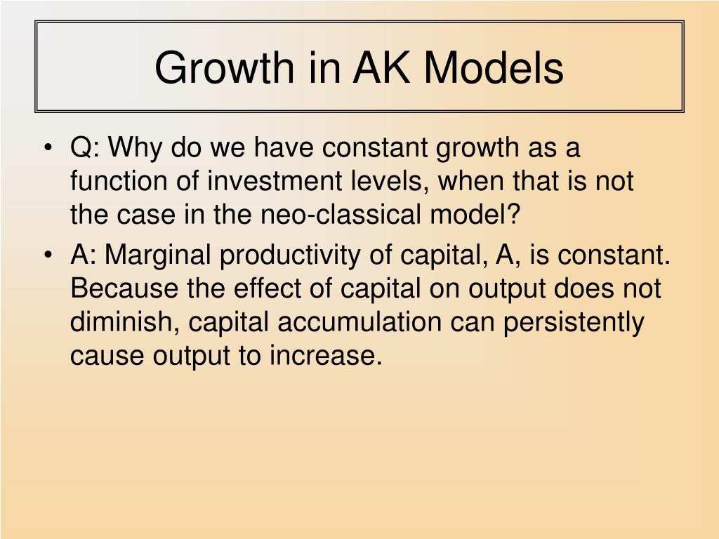 Growth in AK Models