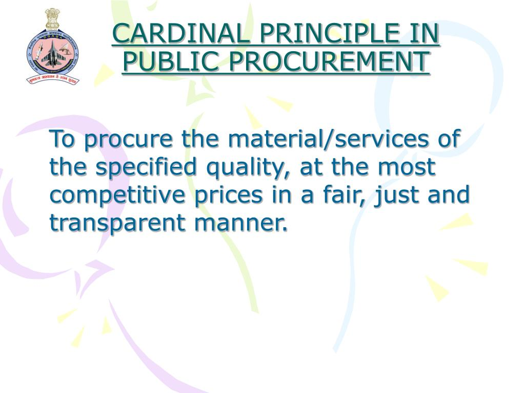 CARDINAL PRINCIPLE IN PUBLIC PROCUREMENT