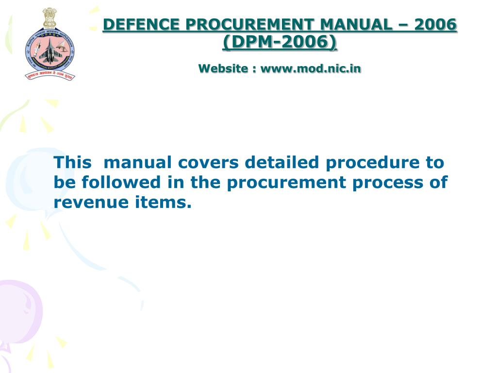 DEFENCE PROCUREMENT MANUAL – 2006