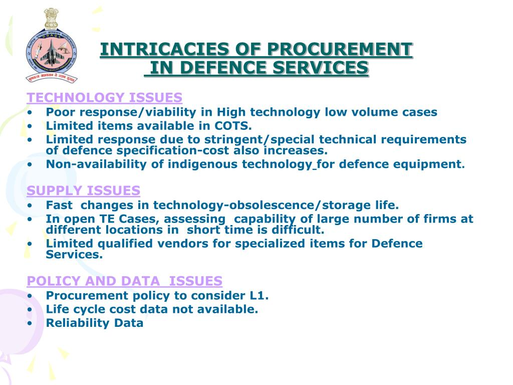 INTRICACIES OF PROCUREMENT