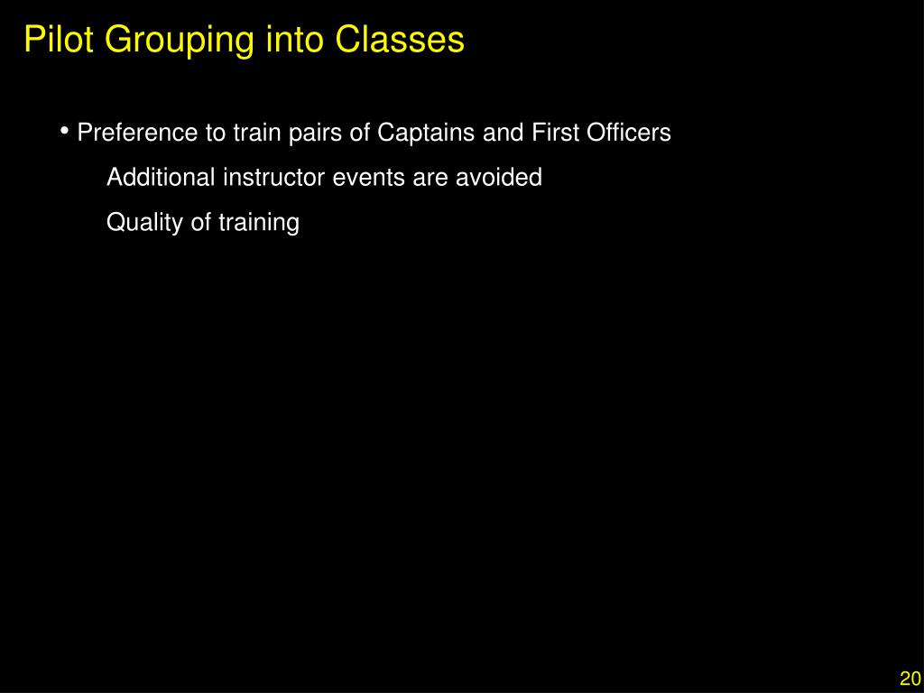 Pilot Grouping into Classes