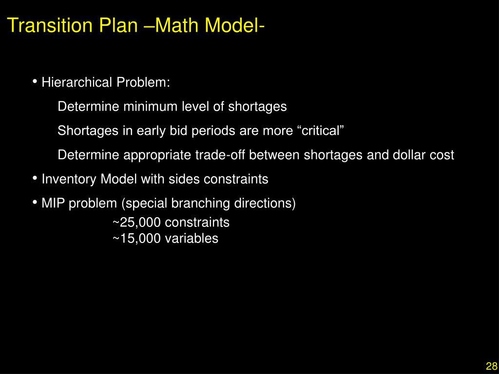 Transition Plan –Math Model-