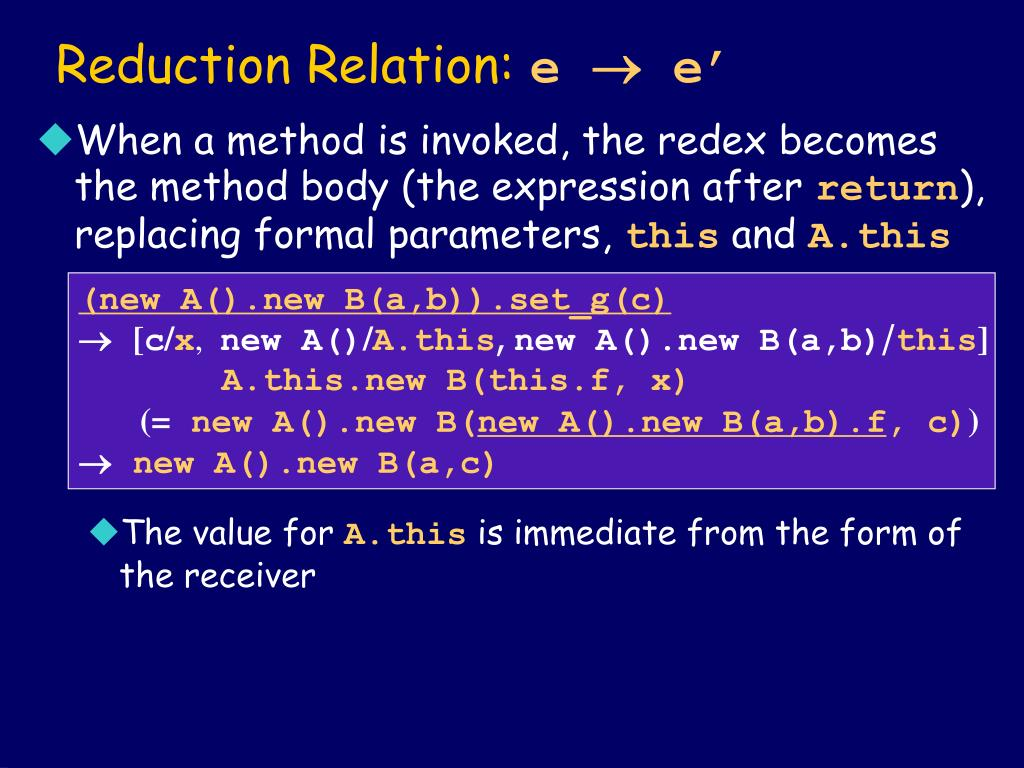 Reduction Relation: