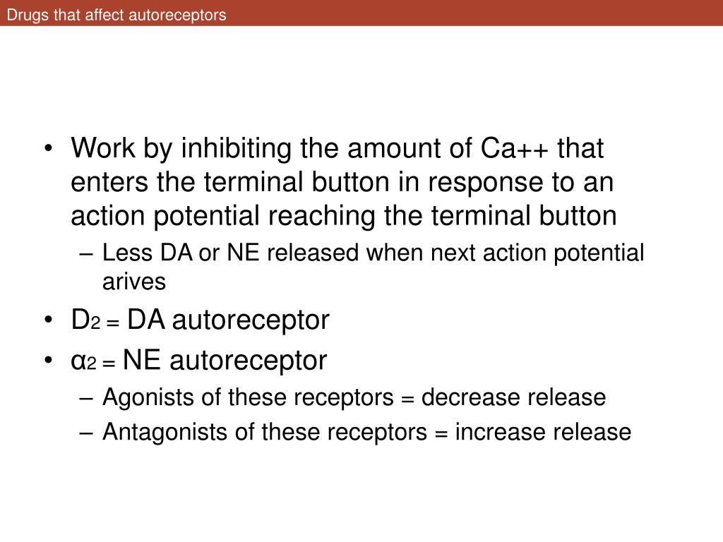 Drugs that affect autoreceptors