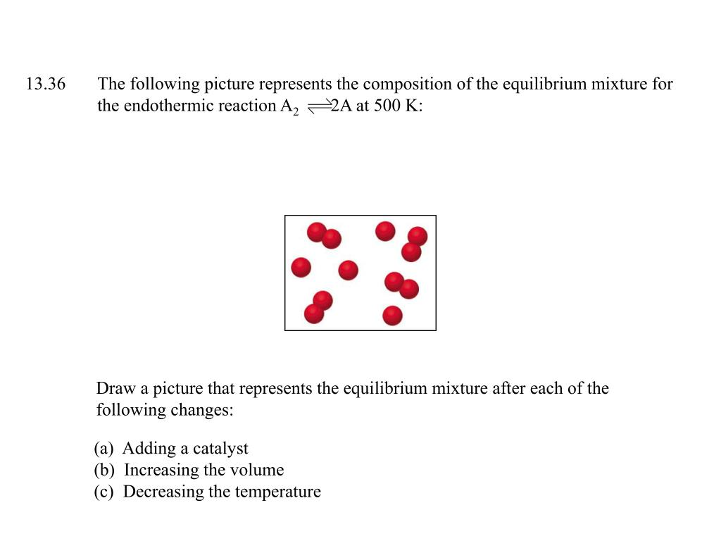 13.36	The following picture represents the composition of the equilibrium mixture for 	the endothermic reaction A