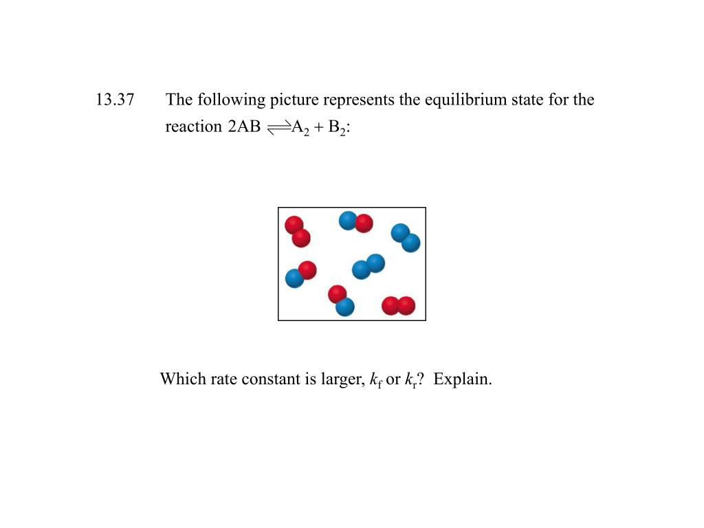 13.37The following picture represents the equilibrium state for the reaction