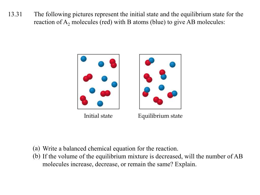 13.31The following pictures represent the initial state and the equilibrium state for the reaction of A