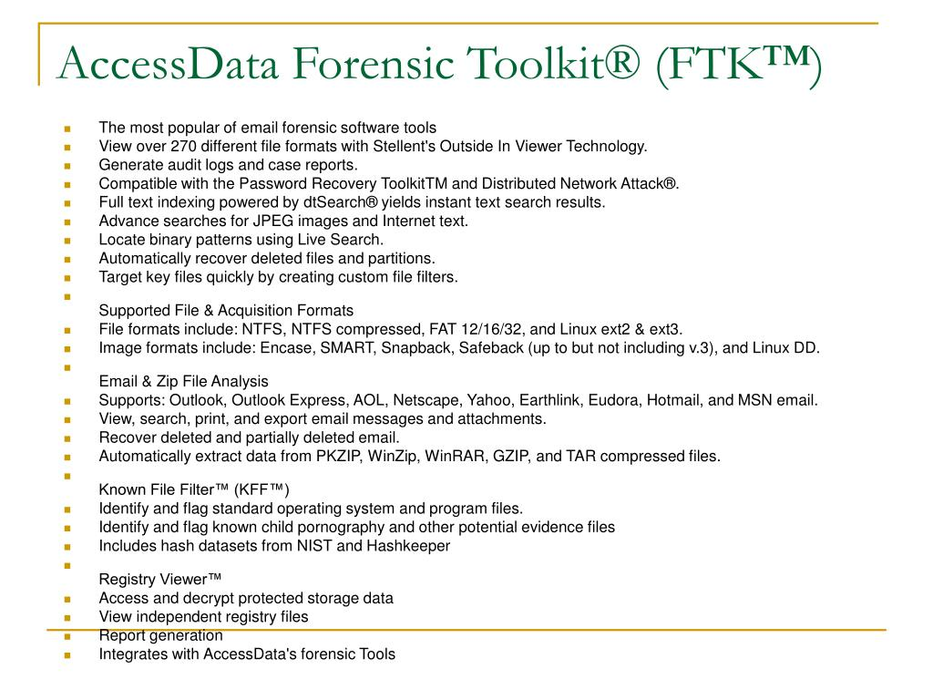 AccessData Forensic Toolkit® (FTK™)