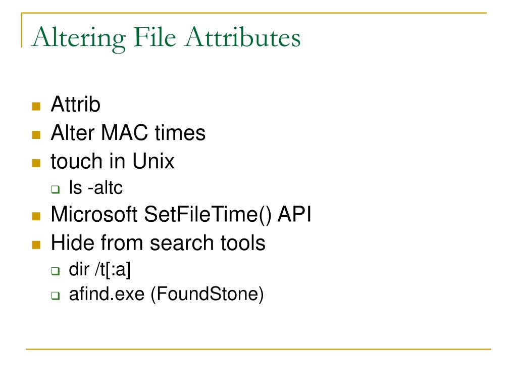 Altering File Attributes