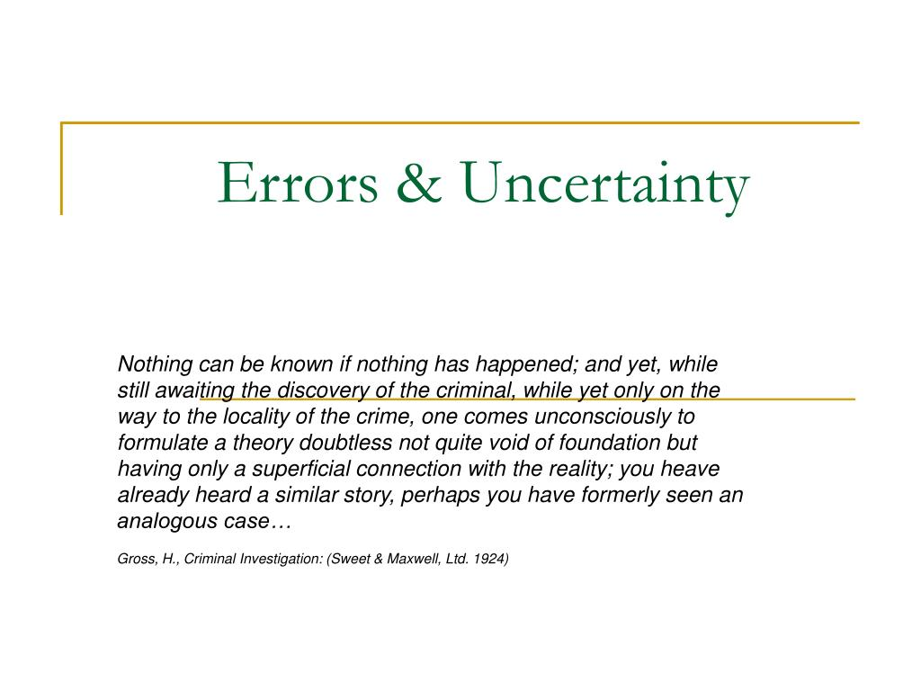 Errors & Uncertainty