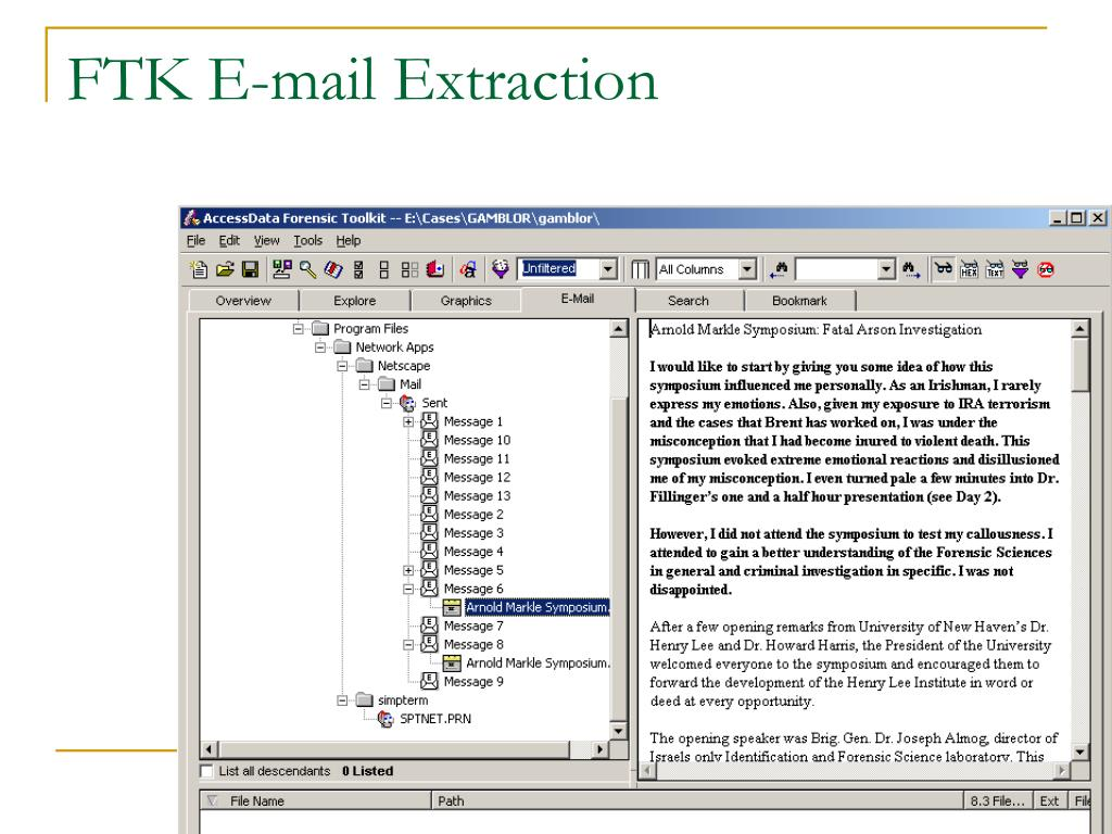 FTK E-mail Extraction