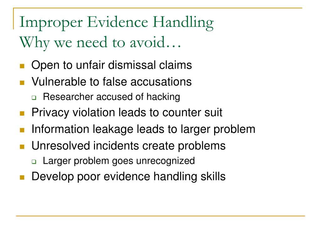 Improper Evidence Handling
