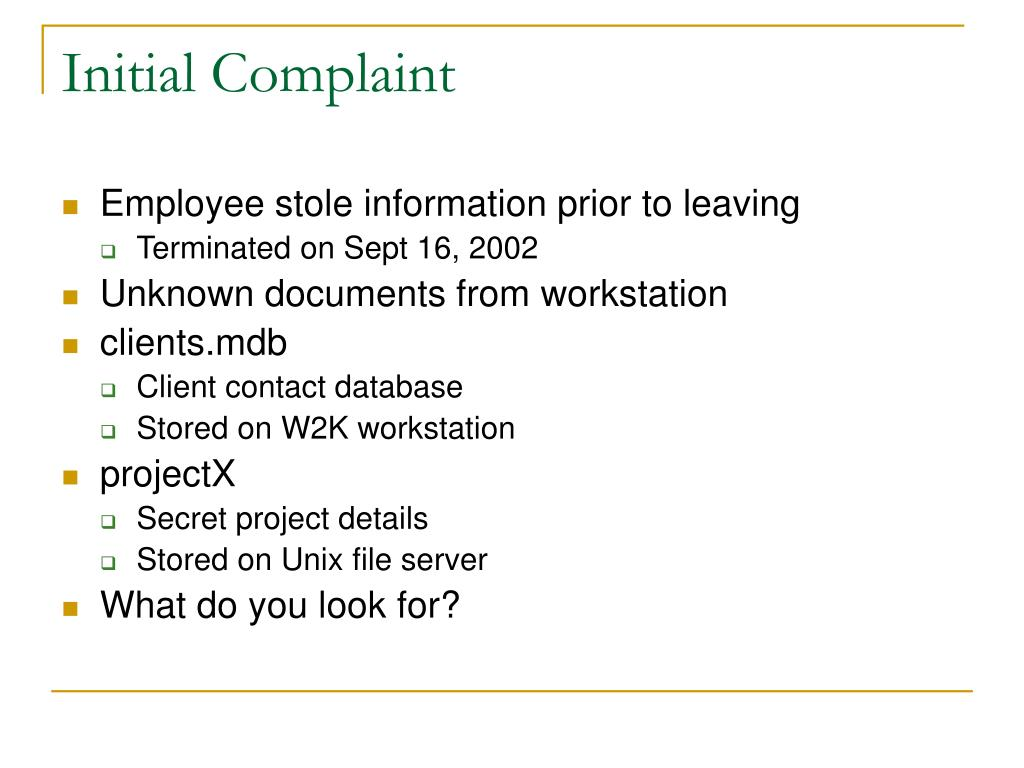 Initial Complaint