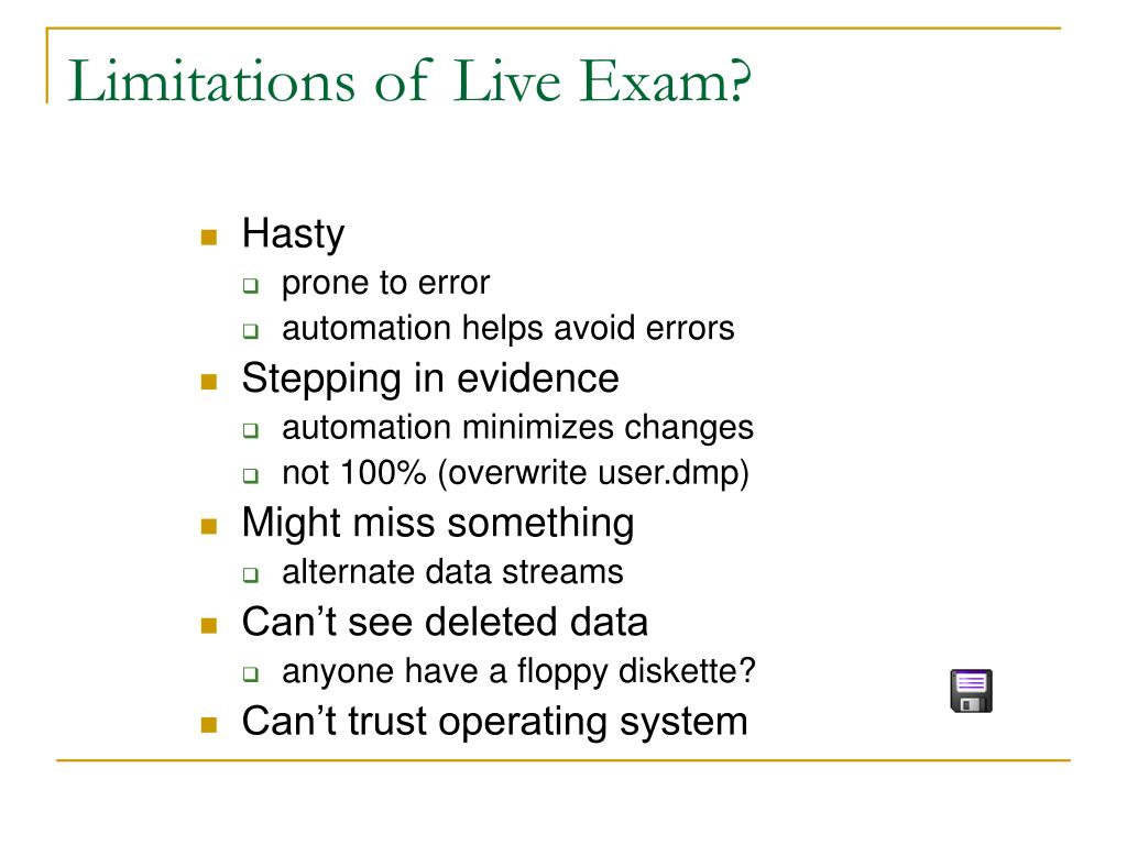 Limitations of Live Exam?