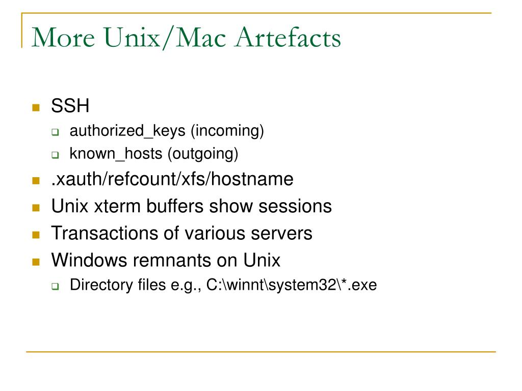 More Unix/Mac Artefacts